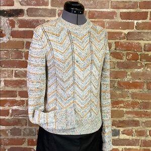 Free People Chevron Knit Sweater Gray and Mustard